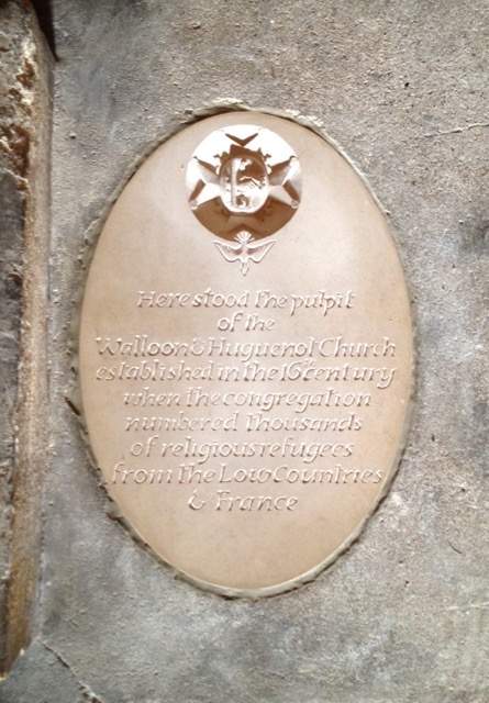 Huguenot Plaque in Western Crypt